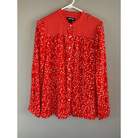 Lands's End Red Size Small Mock Neck Blouse Floral
